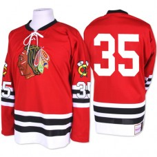 Chicago Blackhawks #35 Tony Esposito Authentic Red Mitchell and Ness 1960-61 Throwback Jersey