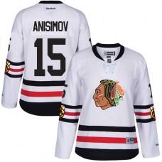 Women's Chicago Blackhawks #15 Artem Anisimov Authentic White 2017 Winter Classic Reebok Jersey