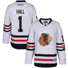 Kid's Chicago Blackhawks #1 Glenn Hall Authentic White 2017 Winter Classic Reebok Jersey