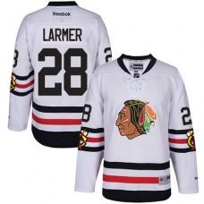 Kid's Chicago Blackhawks #28 Steve Larmer Authentic White 2017 Winter Classic Reebok Jersey