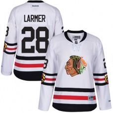 Women's Chicago Blackhawks #28 Steve Larmer Premier White 2017 Winter Classic Reebok Jersey