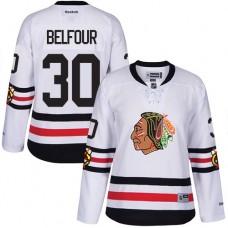 Women's Chicago Blackhawks #30 ED Belfour Authentic White 2017 Winter Classic Reebok Jersey