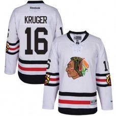Kid's Chicago Blackhawks #16 Marcus Kruger Authentic White 2017 Winter Classic Reebok Jersey