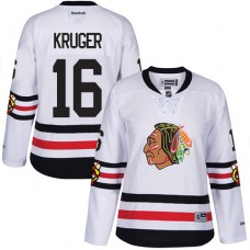 Women's Chicago Blackhawks #16 Marcus Kruger Premier White 2017 Winter Classic Reebok Jersey