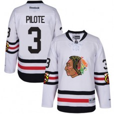 Kid's Chicago Blackhawks #3 Pierre Pilote Authentic White 2017 Winter Classic Reebok Jersey