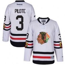 Kid's Chicago Blackhawks #3 Pierre Pilote Premier White 2017 Winter Classic Reebok Jersey
