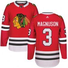 Kid's Chicago Blackhawks #3 Keith Magnuson Premier Red Home Adidas Jersey