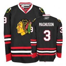 Kid's Chicago Blackhawks #3 Keith Magnuson Premier Black Third Reebok Jersey