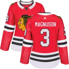 Women's Chicago Blackhawks #3 Keith Magnuson Premier Red Home Adidas Jersey