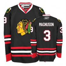Women's Chicago Blackhawks #3 Keith Magnuson Authentic Black Third Reebok Jersey