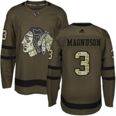Kid's Chicago Blackhawks #3 Keith Magnuson Authentic Green Salute to Service Adidas Jersey