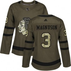 Women's Chicago Blackhawks #3 Keith Magnuson Authentic Green Salute to Service Adidas Jersey