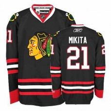 Kid's Chicago Blackhawks #21 Stan Mikita Authentic Black Third Reebok Jersey