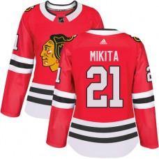 Women's Chicago Blackhawks #21 Stan Mikita Premier Red Home Adidas Jersey