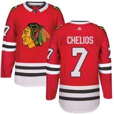Kid's Chicago Blackhawks #7 Chris Chelios Premier Red Home Adidas Jersey