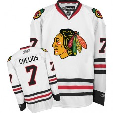 Kid's Chicago Blackhawks #7 Chris Chelios Authentic White Away Reebok Jersey