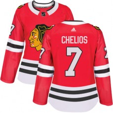 Women's Chicago Blackhawks #7 Chris Chelios Authentic Red Home Adidas Jersey
