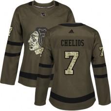 Women's Chicago Blackhawks #7 Chris Chelios Premier Green Salute to Service Adidas Jersey