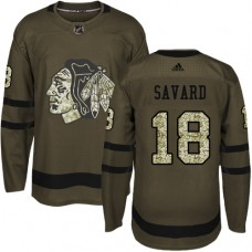 Kid's Chicago Blackhawks #18 Denis Savard Authentic Green Salute to Service Adidas Jersey
