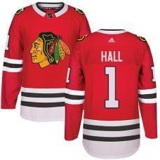 Kid's Chicago Blackhawks #1 Glenn Hall Authentic Red Home Adidas Jersey