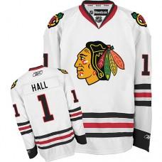 Kid's Chicago Blackhawks #1 Glenn Hall Authentic White Away Reebok Jersey