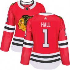 Women's Chicago Blackhawks #1 Glenn Hall Authentic Red Home Adidas Jersey