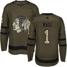 Kid's Chicago Blackhawks #1 Glenn Hall Authentic Green Salute to Service Adidas Jersey