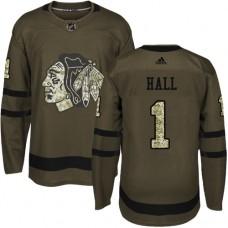Kid's Chicago Blackhawks #1 Glenn Hall Premier Green Salute to Service Adidas Jersey