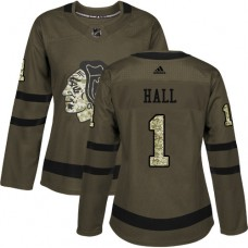 Women's Chicago Blackhawks #1 Glenn Hall Authentic Green Salute to Service Adidas Jersey
