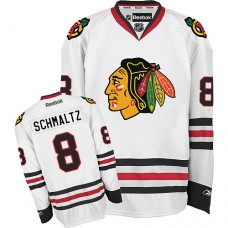 Kid's Chicago Blackhawks #8 Nick Schmaltz Premier White Away Reebok Jersey