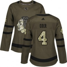Women's Chicago Blackhawks #4 Bobby Orr Authentic Green Salute to Service Adidas Jersey