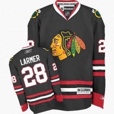 Kid's Chicago Blackhawks #28 Steve Larmer Premier Black Third Reebok Jersey