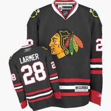 Women's Chicago Blackhawks #28 Steve Larmer Authentic Black Third Reebok Jersey