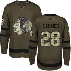 Kid's Chicago Blackhawks #28 Steve Larmer Authentic Green Salute to Service Adidas Jersey
