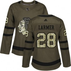 Women's Chicago Blackhawks #28 Steve Larmer Authentic Green Salute to Service Adidas Jersey