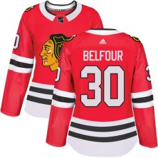 Women's Chicago Blackhawks #30 ED Belfour Authentic Red Home Adidas Jersey