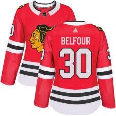 Women's Chicago Blackhawks #30 ED Belfour Premier Red Home Adidas Jersey