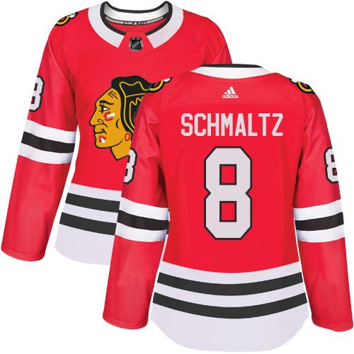 Women's Chicago Blackhawks #8 Nick Schmaltz Authentic Red Home Adidas Jersey