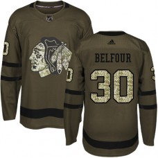 Kid's Chicago Blackhawks #30 ED Belfour Authentic Green Salute to Service Adidas Jersey