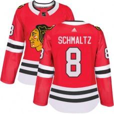 Women's Chicago Blackhawks #8 Nick Schmaltz Premier Red Home Adidas Jersey