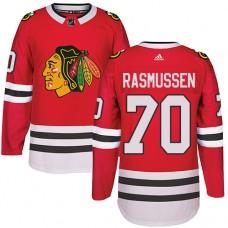 Kid's Chicago Blackhawks #70 Dennis Rasmussen Premier Red Home Adidas Jersey