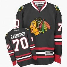 Kid's Chicago Blackhawks #70 Dennis Rasmussen Authentic Black Third Reebok Jersey