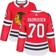 Women's Chicago Blackhawks #70 Dennis Rasmussen Premier Red Home Adidas Jersey