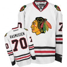 Women's Chicago Blackhawks #70 Dennis Rasmussen Premier White Away Reebok Jersey