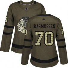 Women's Chicago Blackhawks #70 Dennis Rasmussen Authentic Green Salute to Service Adidas Jersey