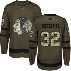Kid's Chicago Blackhawks #32 Michal Rozsival Authentic Green Salute to Service Adidas Jersey
