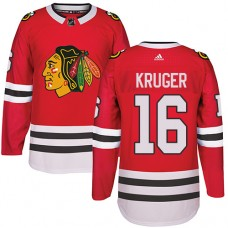 Kid's Chicago Blackhawks #16 Marcus Kruger Premier Red Home Adidas Jersey