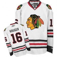Kid's Chicago Blackhawks #16 Marcus Kruger Authentic White Away Reebok Jersey