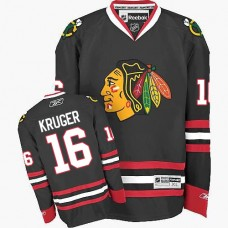 Kid's Chicago Blackhawks #16 Marcus Kruger Authentic Black Third Reebok Jersey