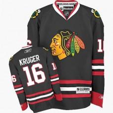 Kid's Chicago Blackhawks #16 Marcus Kruger Premier Black Third Reebok Jersey